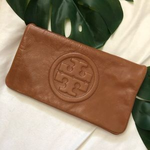 "Tory Burch ""Reva Bombé"" Clutch in Tan Leather"